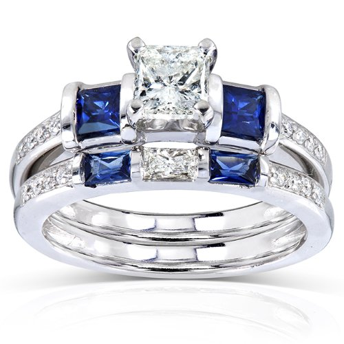 Blue Sapphire and Diamond Bridal Ring Set 1 1/4 Carat (ctw) in 14k White Gold (Ring Sapphire Diamond 14k)