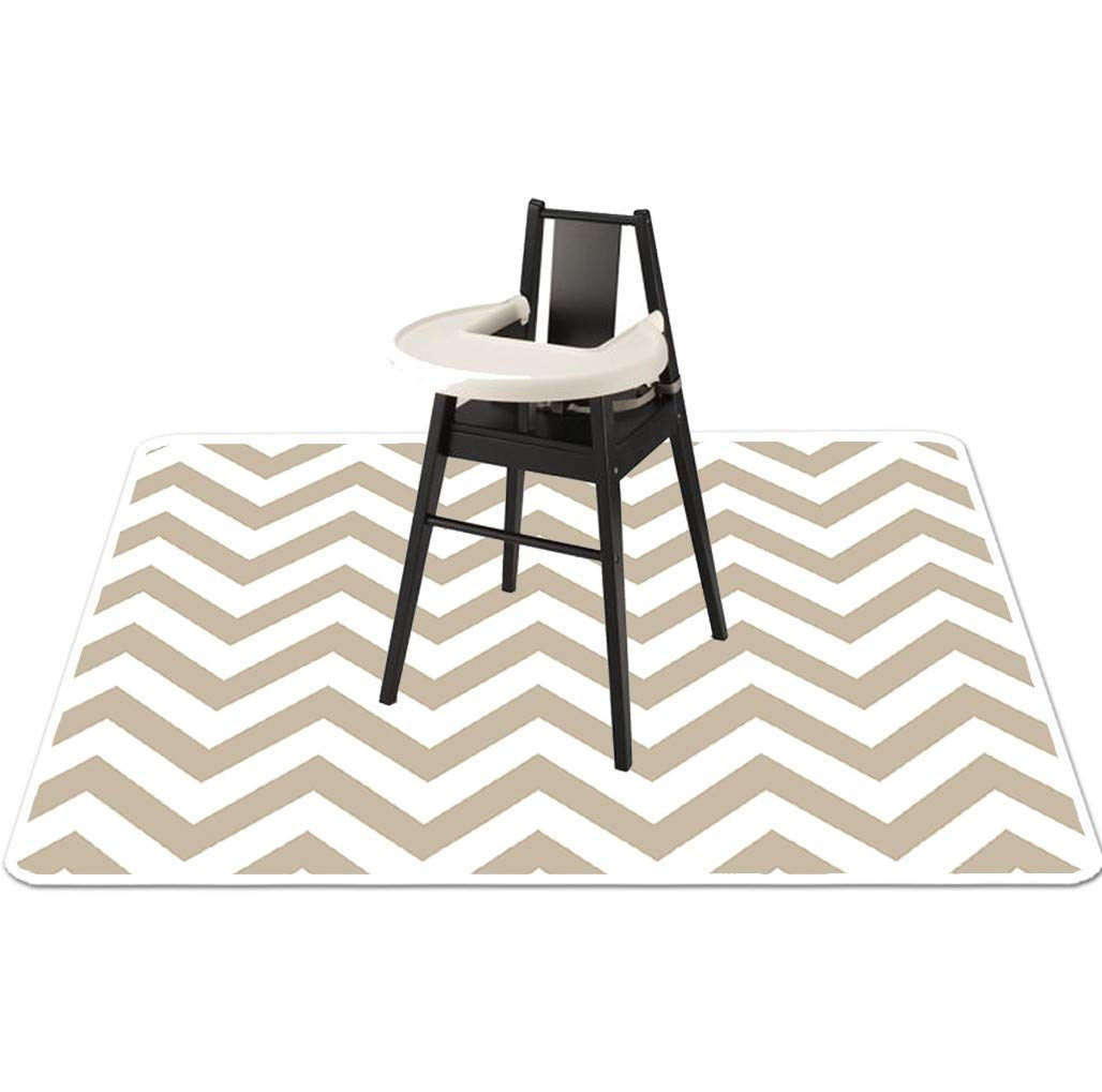Baby Splat Mat for Under High Chair - High Chair Floor Mat - Splash Mat, Catchall and Floor Protector, Anti Slip Art Mat for Kids - Washable, Waterproof, Extra Large (51 Inch) - Grey Chevron by O'ranch Baby Boutique