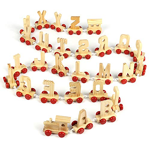 TRIEtree Personalized Wooden Alphabet Train Alphabet Letters Train 26 English Letters Train A-Z Name Set Children Preschool Early Educational ()