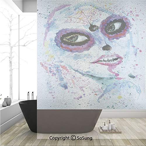 3D Decorative Privacy Window Films,Grunge Halloween Lady with Sugar Skull Make Up Creepy Dead Face Gothic Woman Artsy,No-Glue Self Static Cling Glass film for Home Bedroom Bathroom Kitchen Office 36x4
