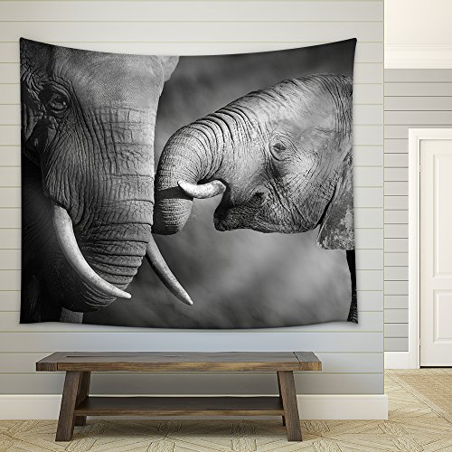 Elephants Showing Affection Artistic Processing Fabric Wall