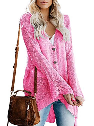 (Lovaru Womens Boho Knit Cardigan Loose Lightweight V Neck Button Down Sweater Sheer Henley Tops Pink)
