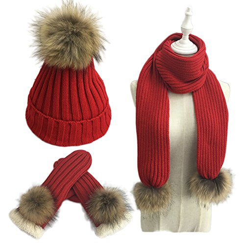 Mitten 3 Set Piece (Bingooutlet Women Pom Pom Beanie Hat Scarf Gloves Set Winter Thick Knitted 3 Piece Mitten Sets)