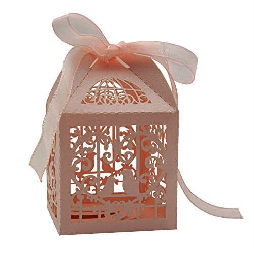 KEIVA 70 Pack White Love Birds Laser Cut Favor Candy Box Bomboniere Decorations Gift Boxes with Ribbons Bridal Shower Wedding Party Favors (Pink) (Love Birds Paper Ribbon)