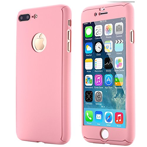 iPhone 7 Plus Case,AICase Ultra Thin Full Body Coverage Protection Soft PC [Dual Layer][Slim Fit] Case with Tempered Glass Screen Protector for iPhone 7 Plus (Pink)