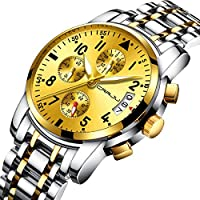CRRJU Mens Fashion Casual Date Watches,Chronograph Sports Waterproof Heavy Quartz Watch with Stainless Steel Band