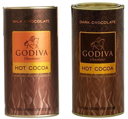 Godiva Hot Cocoa 2 Pack Set (1 Milk Chocolate and 1 Dark Chocolate) 27.6 oz.