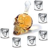 Amzdeal Set di 1 Bottiglia(350ML)+ 6 Bicchieri (75ML) a Forma Skull Head / Teschio in Vetro per Liquori, Birra, Vino o Bevande Analcoliche