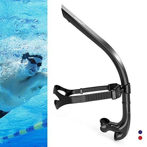 COPOZZ Swim Snorkel for Lap Swimming Swimmers Training Snorkeling Diving, Center Mount Comfortable Silicone Mouthpiece One-Way Purge Valve, Easy to Breath for Pool and Open Water (4300 BK)