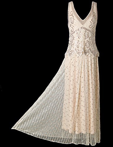 Flapper Girl Womens 1920s Beaded Sequin Maxi Long Evening Formal