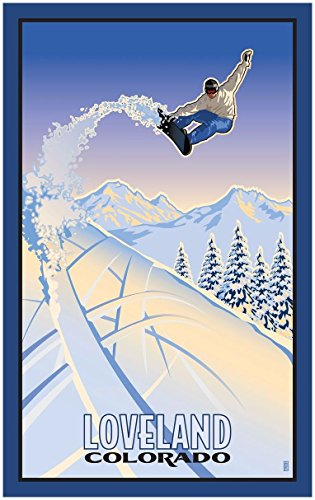 Loveland Colorado Snowboarder Travel Art Print Poster by Paul Leighton (30