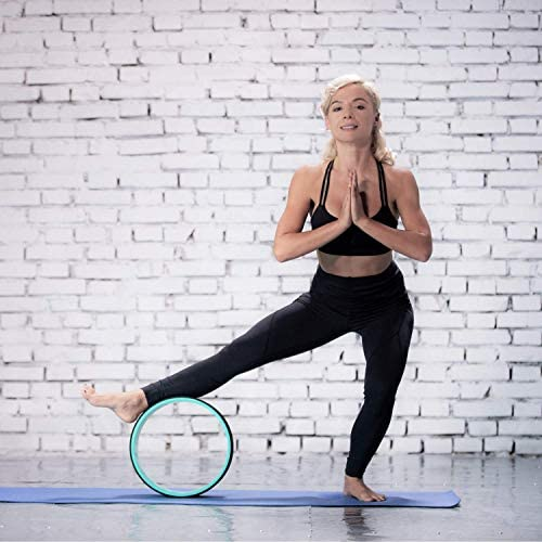 pete's selection Yoga Wheels with Yoga Strap & Exercise Guide | Comfortable & Durable Yoga Balance Accessory | Increase Flexibility | Improve Posture