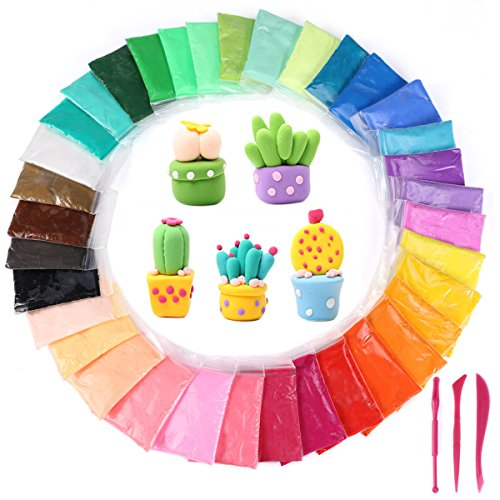 Kids Clay Sculpture - 36 Colors DIY Modeling Clay Kit,Trofoty Ultra Light Polymer Clay Air Dry Clay Creativity DIY Crafts No-Toxic Clay Accessories and Tutorials for Kids Gift