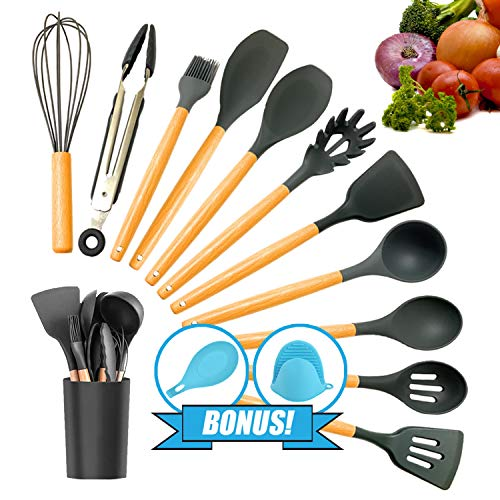 Kitchen Utensil Set, Silicone Cooking utensil set, Kitchen Gadgets utensil set for nonstick cookware, Kitchen Set Kitchen Utensils Turner Tongs Spatula Spoon 100% BPA Free Non-Toxic Cooking utensils