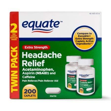 Equate Extra Strength Headache Relief Caplets, 250 mg, 100 C