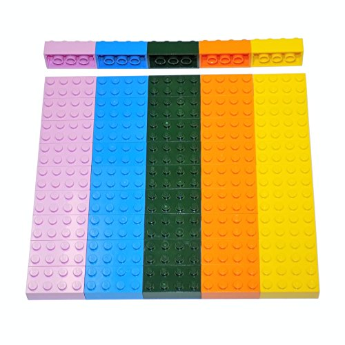 LEGO Parts and Pieces: Assorted 2x4 Bricks (Dark Green, Deep Blue, Orange, Pink, Yellow) - 50 Pieces (Assorted Bricks Lego)
