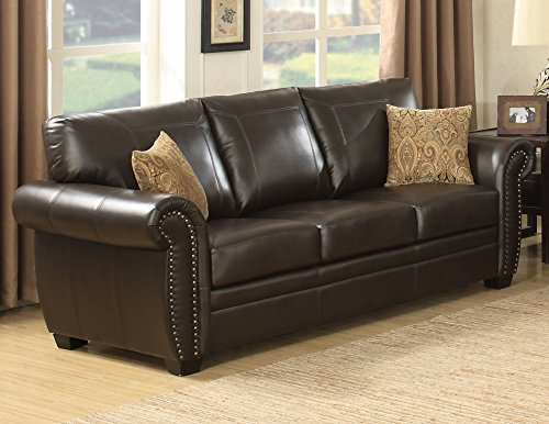 AC Pacific Louis Collection Traditional Upholstered Leather Sofa with Antique Brass Nail Head Trim and 2 Accent Pillows, Brown