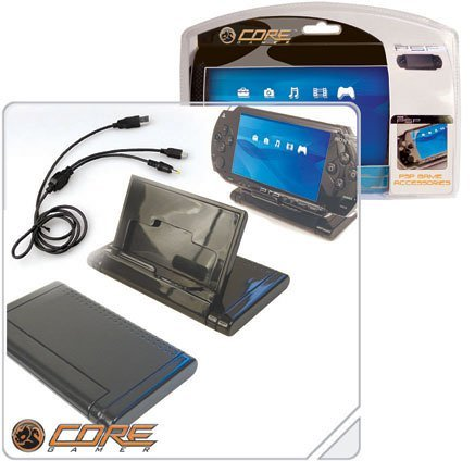 Core Gamer PSP-00757 PSP Flip Stand & 2 in 1 USB Cradle
