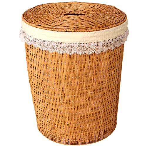 Kinue Home DecorAddition Diaper Toy Hamper Storage Box/Rattan Woven Laundry Basket/Clothes Baskets/Rattan Covered/Dirty Barrel Hamper, Small Yellow (Color : Medium Yellow)