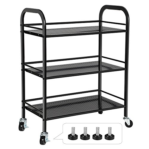 SONGMICS 3 Tiers Storage Cart Utility Trolley for Kitchen Pantry Weight Capacity 165 lbs Bathroom on Casters or Adjustable Feet Black UBSC13B by SONGMICS