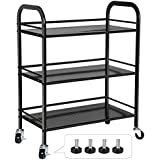 SONGMICS 3 Tiers Storage Cart Utility Trolley for Kitchen Pantry Weight Capacity 165 lbs Bathroom on Casters or Adjustable Feet Black UBSC13B