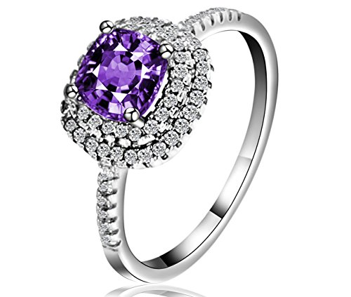 Lucky Dora White Gold Platinum Plated Dual Halo Engagement Rings with Cushion Amethyst CZ, Size 5