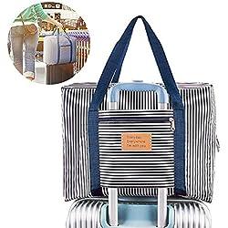 Foldable Travel Bag Waterproof Travel Duffel Bag,Women Ladies Man Canvas Weekender Bag Overnight Carry-on Tote Duffel in Trolley Handle (BLUE STRIPE)