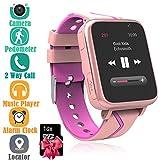 Jesam Kids Smart Watch with Music Player - Childrens Mp3 Music Player Watch [with 1GB Micro SD Card] with SIM Slot Pedometer Camera Flashlight GPS Tracker Sports Watch (Pink)