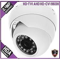 2.4MP 1080p Quad-Hybrid AHD/HD-TVI/CVI/960H Eyeball IR Dome Camera: White, 3.6mm, 15m Infrared, 12v DC, IP66, OSD, CoC, 3yr