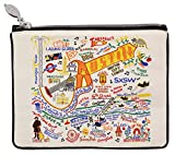 Catstudio Geography Zip Pouch | Use as Wallet, Coin Purse, Travel Case and More! (Austin Natural)