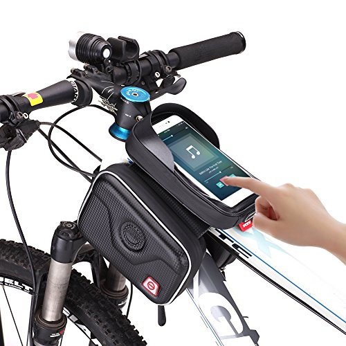 AKM Carbon Fiber Waterproof handlebar Bag Top Tube Bicycle Frame Bag Sunshade Touch Screen Smart Phone Case Road Bike Bag for Bike Accessory Compatible with GPS, MP3, Iphone -