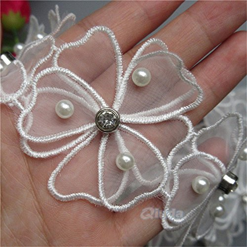 1 Meter Pearl Diamond Net 3D Flower Lace Edge Trim Ribbon 5.5 cm Width White Trimmings Fabric Embroidered Applique Sewing Craft Wedding Bridal Dress Embellishment Party Decoration Clothes Embroidery ()