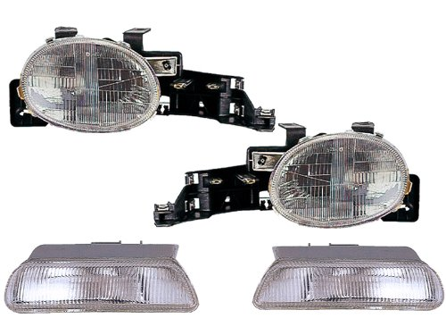 HEADLIGHTSDEPOT Headlights 4 Piece Set Compatible with Dodge Plymouth Includes Left Driver and Right Passenger Side Headlamps