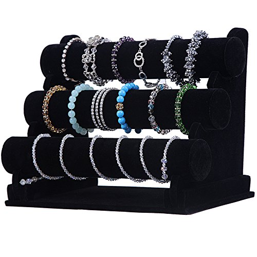 SONGMICS 3-Tier Velvet Bracelet Holder Watch Necklace