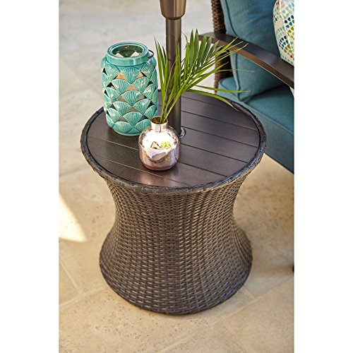Charmant Allen + Roth Round Steel Brown Wicker End Table With Umbrella Hole, 20u0027u0027