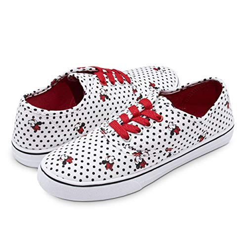 Disney Minnie Mouse White and Black Polka Dot Print with Red/Gold Sparkly Lace UP Fashion Sneaker White 6 -
