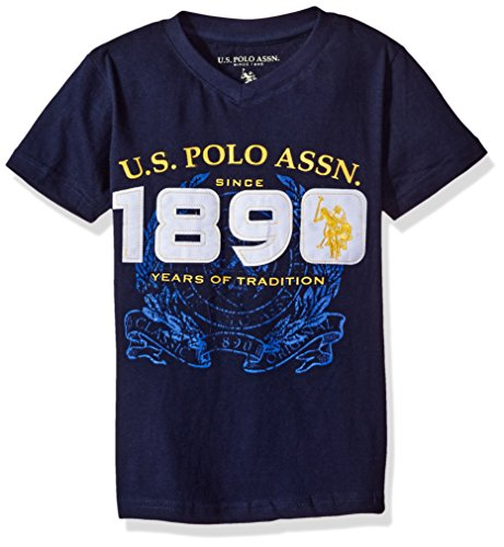 U.S. Polo Assn. Little Boys' Graphic Embellished V-Neck T-Shirt, Classic Navy H5SA73NAV1, 5/6 Kids Graphic Polo