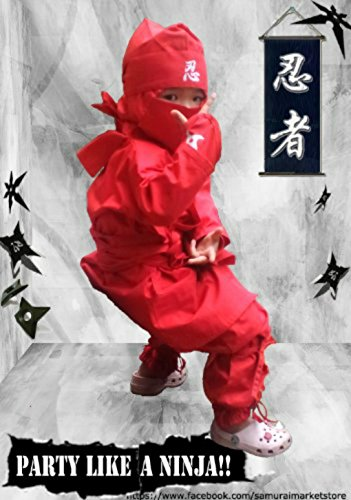 Halloween Children's Ninja Uniform/ Martial Art Costume! Black/Red (Red, 3L- ... (Halloween Costumes International Shipping)