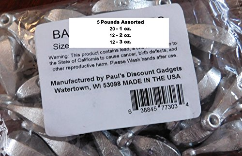 Fishing Sinker / Weights Bulk 5lbs / 44 pieces assorted 1, 2 & 3 oz. Bank Fishing Sinkers assortment Manufactured by Paul's Discount Gadgets(5lbs Asst)