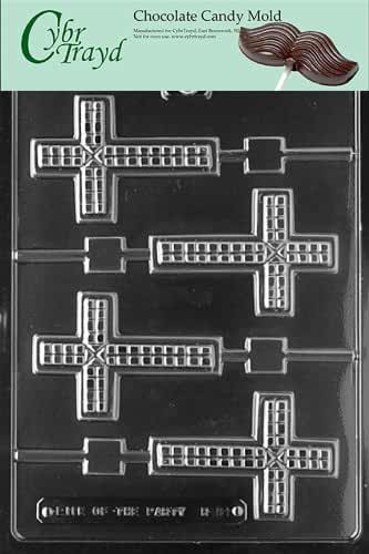 Cybrtrayd R061 Cross Lolly Chocolate Candy Mold with Exclusive Cybrtrayd Copyrighted Chocolate Molding Instructions plus Optional Candy Packaging Bundles