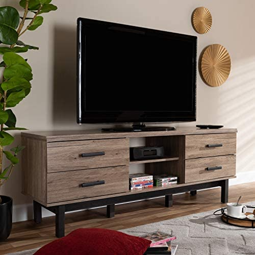 Baxton Studio Arend Modern and Contemporary Two-Tone Oak and Ebony Wood 4-Drawer TV Stand