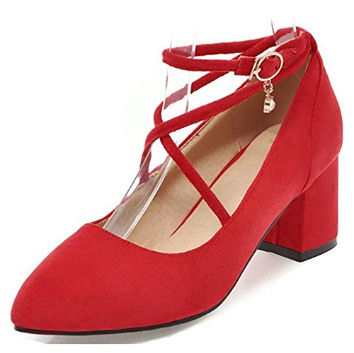 Red Aisun Pumps Fashion Low Block Mid Strap Shoes Cut Buckled Toe Dressy Ankle Pointed Womens Heel TTUrZ