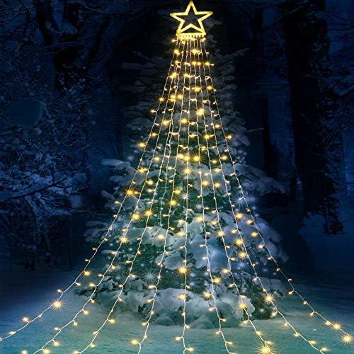 Qedertek Luci di Natale con Stella, Luci Natalizie da Esterno ed Internmo, 9 Stringhe da 3M, 8 modalita, Telecomando, Luci Decorazione Natale per Albero, Finestra, Giardino, Terrazza (Bianco Caldo)