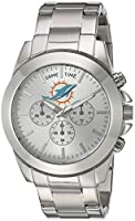 Game Time Women's 'Knock-Out' Quartz Stainless Steel Quartz Analog Watch, Color:Silver-Toned (Model: NFL-TBY-MIA)
