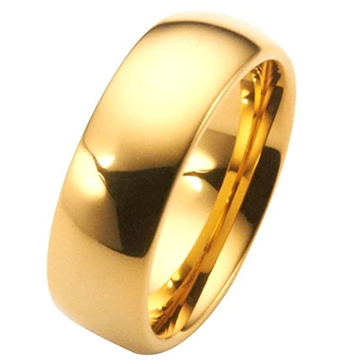 8mm Gold Plated Polished Tungsten Carbide Wedding Ring Classic Half