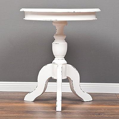 Landhaus Beistelltisch Holz Wohnzimmer Ablage Telefon Tisch rund shabby weiß
