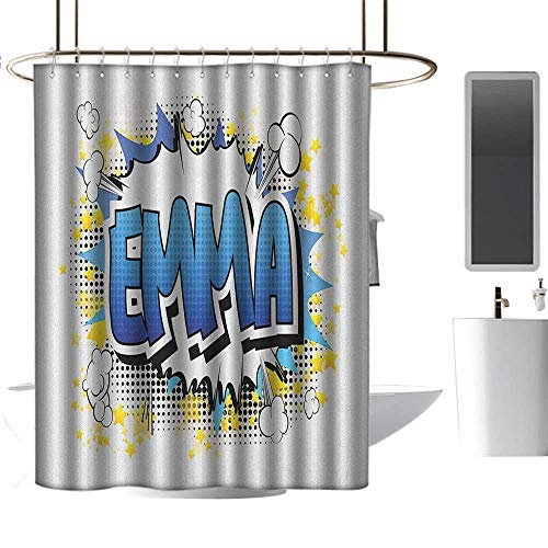 """Camper Shower Curtain Emma,Youthful Energetic Name Design for Teenage Girls Cartoon Stars and Burst, Blue Yellow and Black,3D Effect Bathroom Curtain 72""""x78"""""""