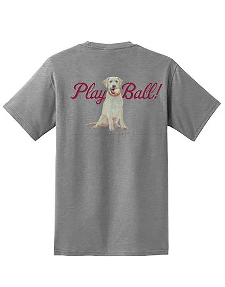 Dog is Good Men's Play Ball T-Shirt (Gray, Large)