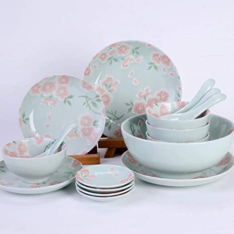 Cubiertos set nuevos platos de cerámica de cereza japonesa set plate 17 piezas 4 personas disponibles
