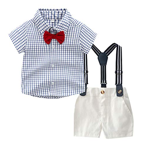 2 PCS Toddler Baby Boys Kid Gentleman Bow Tie Plaid T-Shirt Top + Shorts Overalls Suspender Outfits Suit Set ()